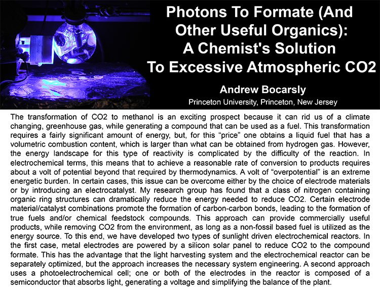 Plenary: PHOTONS TO FORMATE (AND OTHER USEFUL ORGANICS): A CHEMIST