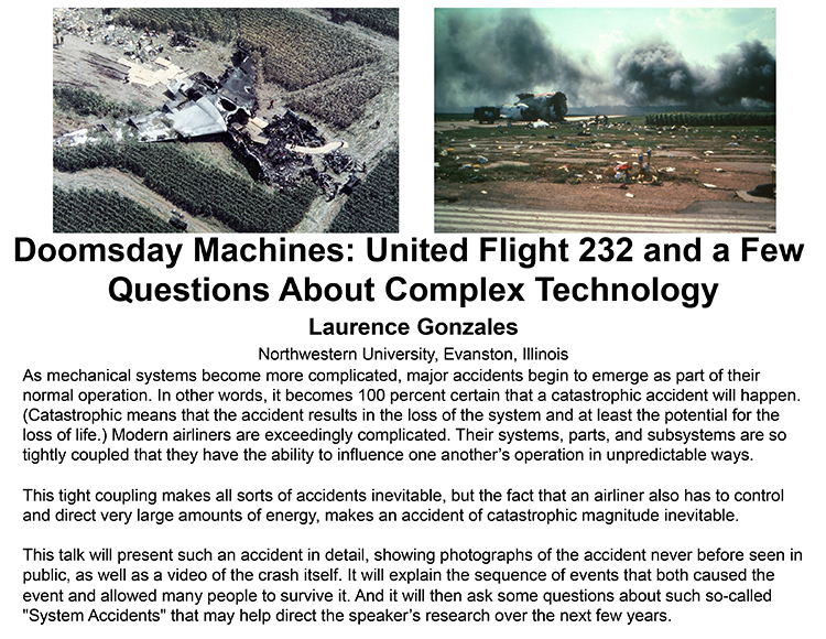 Plenary: DOOMSDAY MACHINES: UNITED FLIGHT 232 AND A FEW QUESTIONS ABOUT COMPLEX TECHNOLOGY
