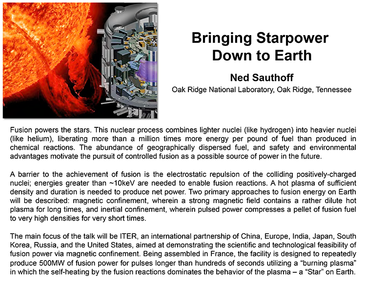 Plenary: BRINGING STARPOWER DOWN TO EARTH