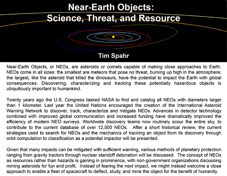 Plenary: NEAR-EARTH OBJECTS: SCIENCE,THREAT, AND RESOURCE